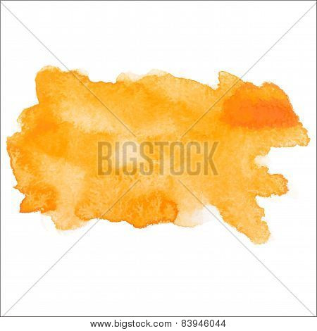 Yellow colorful abstract hand draw watercolour aquarelle art paint splatter stain on white backgroun