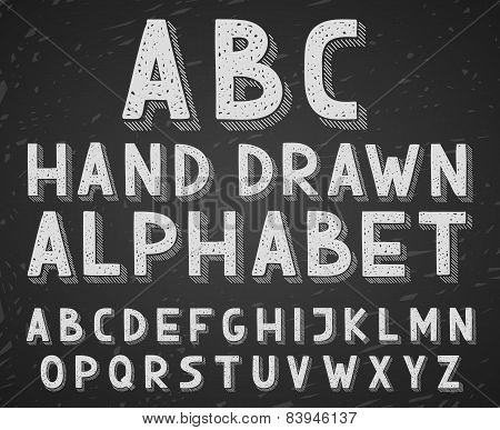 Vector hand drawn doodle sketch alphabet letters written with a chalk on blackboard or chalkboard