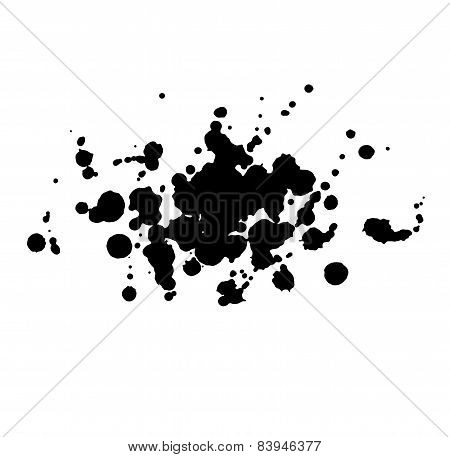 Abstract watercolor aquarelle hand drawn black drop splatter stain art paint on white background Vec