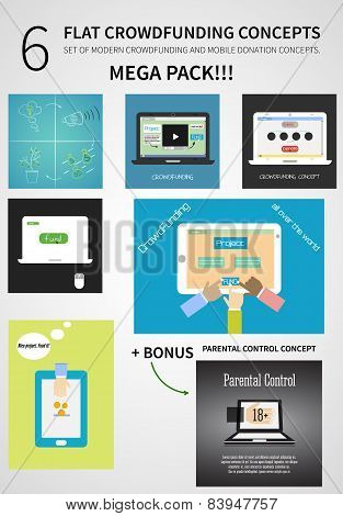 Vector Crowdfunding Concept Set In Flat Design - New Business Model, Start Up, Donation, Fund The Pr