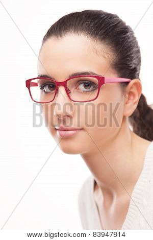 Young Female Model Wearing Fashion Glasses