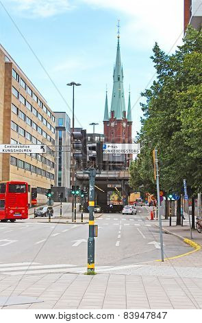 View Of Klara Cathedral From Rodbodtorget Street In Stockholm, Sweden