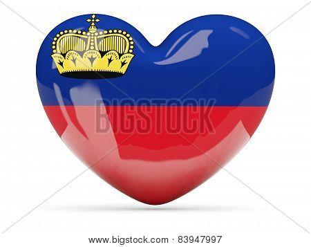Heart Shaped Icon With Flag Of Liechtenstein