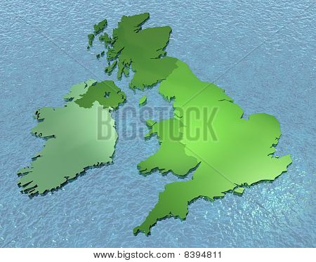 3D map of United Kingdom set in sea