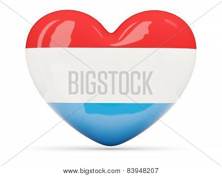 Heart Shaped Icon With Flag Of Luxembourg