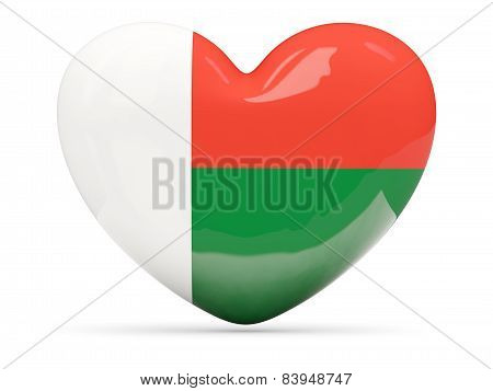 Heart Shaped Icon With Flag Of Madagascar