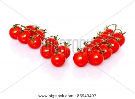 Fresh ripe cherry tomatoes on white background