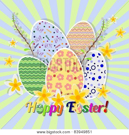 Greeting Card For Easter With Ornament From Painted Eggs And Daffodils
