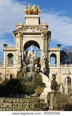 Monumental cascading fountain in the Park Ciutadella, Barcelona, Spain.