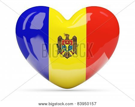 Heart Shaped Icon With Flag Of Moldova