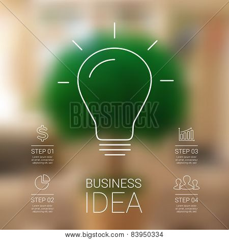 Idea infographic with light bulb. Template for creative diagram, graph, presentation and chart. Busi