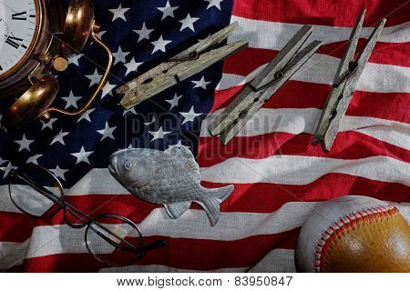 Vintage Still Life, The American Flag, Old Alarm Clock, Glasses, Baseball, Clothespins, Fish