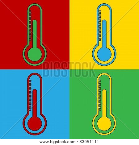 Pop Art Thermometer Simbol Icons.