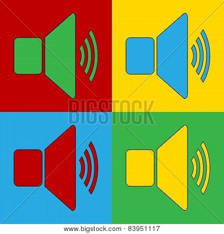 Pop Art Speaker Volume Simbol Icons.