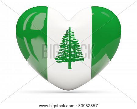 Heart Shaped Icon With Flag Of Norfolk Island