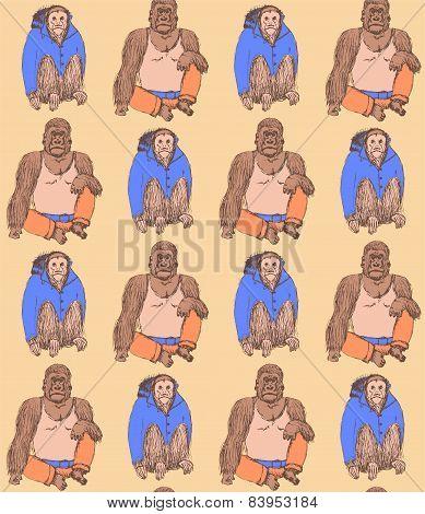 Sketch Fancy Monkeys In Vintage Style