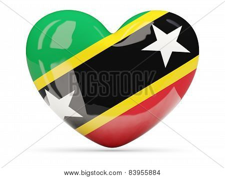 Heart Shaped Icon With Flag Of Saint Kitts And Nevis