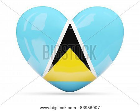 Heart Shaped Icon With Flag Of Saint Lucia