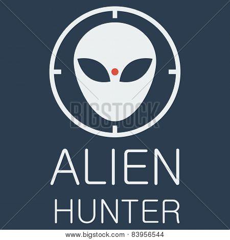 Vector alien hunter on blue background