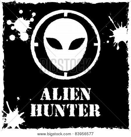 Vector alien hunter logo on black background