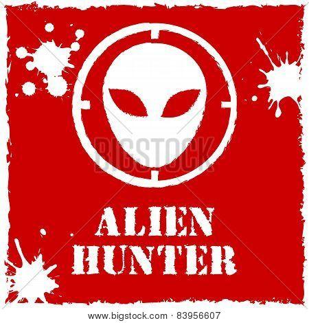 Vector alien hunter logo on red background