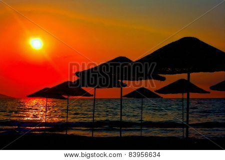 Digital Painting Of Beach Umbrellas At Sunset