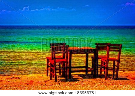 A Digitally Converted Painting Of A Cafe Table And Chairs Overlooking The Sea