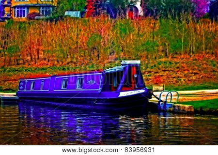 A Digitally Converted Painting Of A Canal Barge In Llangollen North Wales