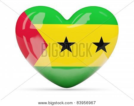 Heart Shaped Icon With Flag Of Sao Tome And Principe