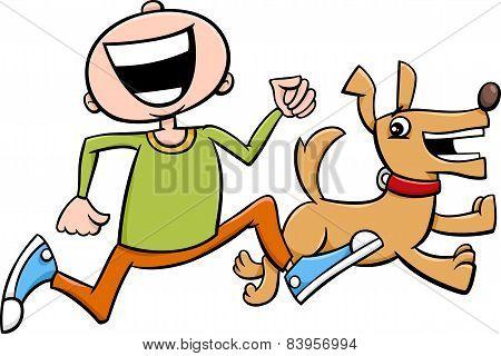 Boy With Puppy Cartoon
