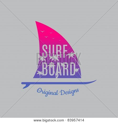Surf Illustration Typography with surf board and with a fin of a shark