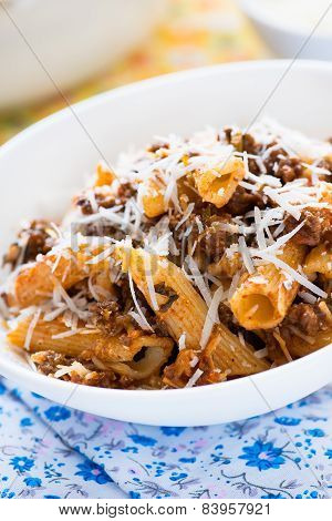 Baked Pasta With Meat Tomato Sauce And Cheese