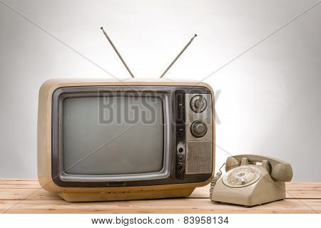 Old Phone And Old Tv Vintage Style