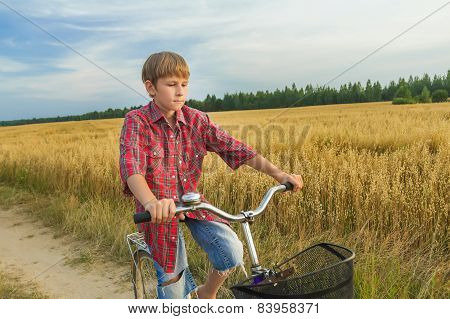 Teenager Boy At His Trip On Country Road