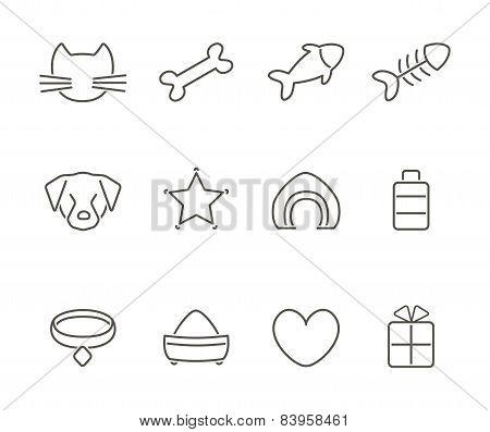 Pets line icons set.