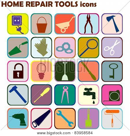 Set Of Colored Icons With Home Repair Tools