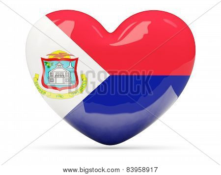 Heart Shaped Icon With Flag Of Sint Maarten