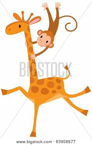 Funny giraffe with monkey