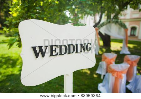 Signpost to the wedding ceremony, old style