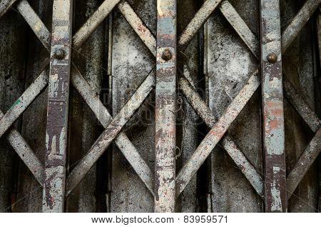 Closed metal door