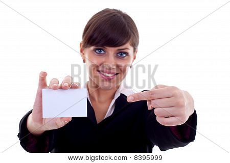 Business Woman With Card