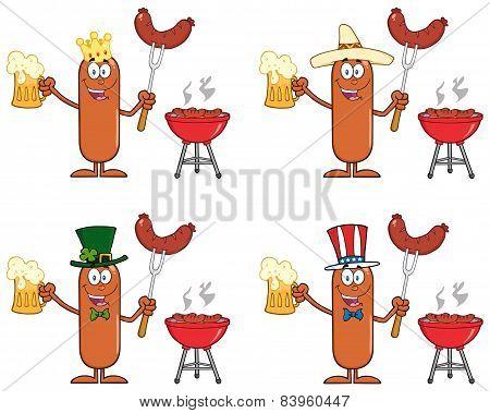 Sausage Cartoon Character 3. Collection Set