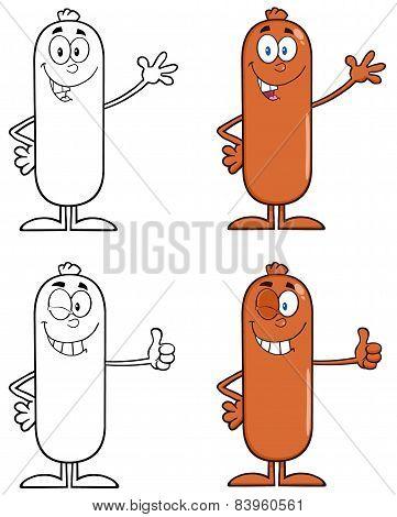 Sausage Cartoon Mascot Character 1. Collection Set