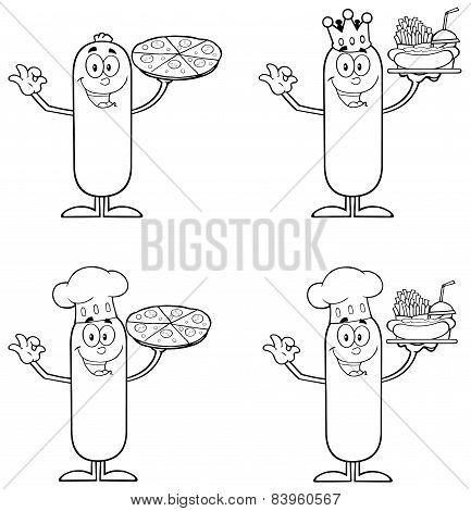 Black And White Sausage Cartoon Mascot Character 1. Collection Set