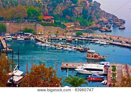 Digital Painting Of Kaleici, Antalya's Old Town Harbor, Turkey
