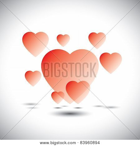 Floating Heart Icons In A Dream Garden Of Love - Vector Icon