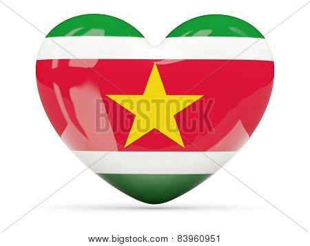 Heart Shaped Icon With Flag Of Suriname