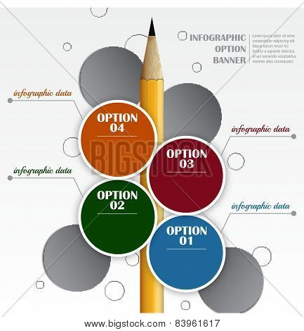 Infographic vector template with circle labels and pencil