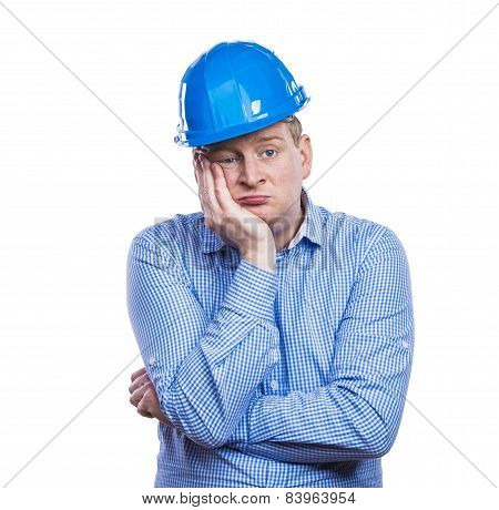 Engineer in blue helmet