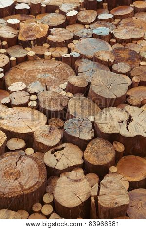 Teak wood stumps background